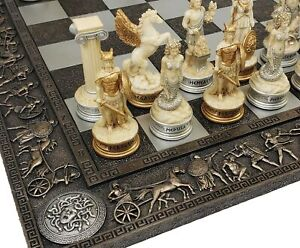 Greek Mythology OLYMPUS GODS CHESS SET Antique White amp; Gold W 17quot; Greek Board $159.95