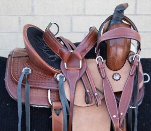 """USED 13"""" YOUTH KIDS WESTERN QUARTER HORSE LEATHER ROPING RANCH TRAIL SADDLE"""