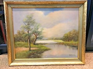 "Original Oil Painting on canvas in gold painted frame signed 24"" x 19"" $85.00"
