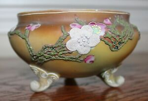 Nippon Moriage Plum Blossom Pattern Trinket Dish 52 Maple Leaf Mark