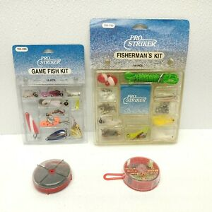 Lot Of 4 Fishing Kits Vintage Pro Striker With Sinkers Lures Stringer Bobbers