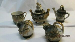 Vintage Japanese Dragonware Moriage 5 Pieces Lot Blue Eyes