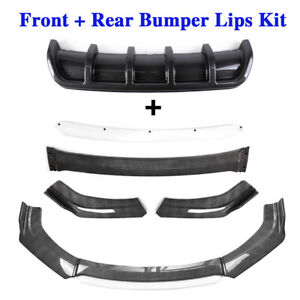 Carbon Fibre Car Front Rear Bumper Lip Kit Splitter Diffuser Universal Protector $78.99
