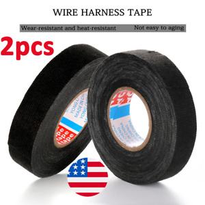 2Pcs 19mm*15m Tesa Adhesive Cloth Felt Auto Car Cable Harness Wiring Loom Tape