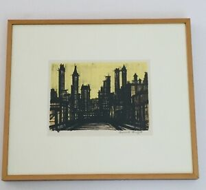 Bernard Buffet Hand Signed Color Lithograph New York III 1967 $600.00