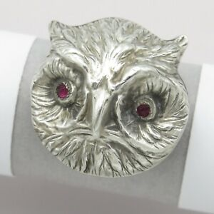 Antique Victorian Sterling Silver Repousse Owl Paste Brooch Pin $185.00