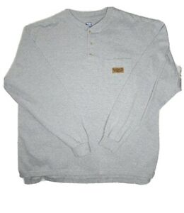 WALLS WorkWear Grey Henley Casual Shirt LS size XL PreOwned $24.98