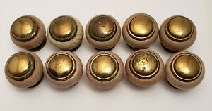 14 Antique Round Wood and Brass Knobs for Cabinets Drawers Doors With Screws $12.70