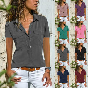 Summer Womens Short Sleeve V Neck T Shirt Button Solid Blouse Casual Pocket Top $15.52