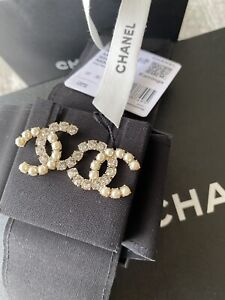 Authentic New Chanel w RECEIPT CC Crystal Pearl Gold Earrings Studs $889.00