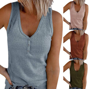 Womens Summer Loose V Neck Button T Shirt Tops Sleeveless Solid Casual Tank Top $15.17