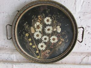 antique round metal framed dried flowers $15.00