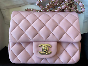 NEW Chanel 21P Pink Sakura Clair Quilted Lambskin Mini Square Light Gold Receipt $5800.00