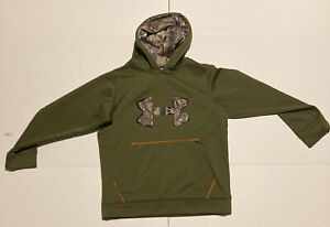 Mens Green And Camo Under Armour Hoodie Youth Medium Camo Logo And Hood $29.98