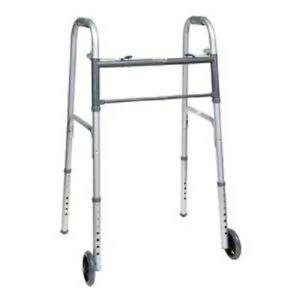 PMI Economy Two Button Folding Steel Adult Walker With Wheels 350 lb Capacity $29.99