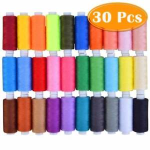 30 Spools Sewing Thread Polyester Assorted 250 Yard For Hand Machine Line $9.97
