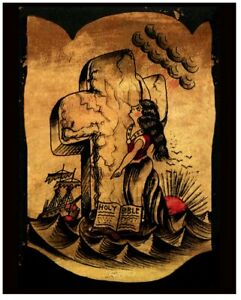 rock of ages mystery antique vintage 1920s tattoo flash giclee print 16x20 $44.00