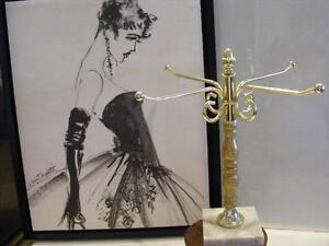 Vanity Jewelry Necklace Holder Stand Vintage Holder Rack Towel Gold metal Marble $26.00
