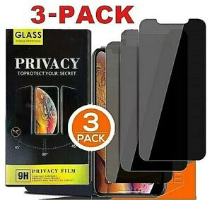 iPhone 12 11 Pro Max XR Privacy Anti Spy Tempered GLASS Screen Protector 3 PACK $8.99