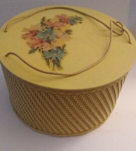 VTG Princess Sewing Basket Yellow Woven Wicker Thread Holder Wood Box 10.5quot; $27.20