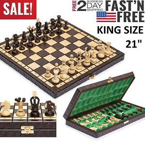 LARGE Vintage Wooden Chess Set Wood Board Hand Carved Crafted Folding Game 21quot; $98.94