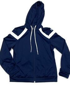 K Swiss jacket athletic hoodie womens blue and white size small draw string $12.99