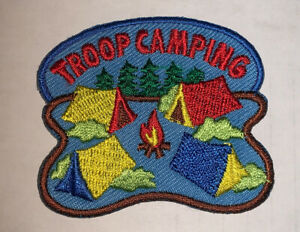 Scout Patch Troop Camping Girl Boy 4 Tents Around Campfire