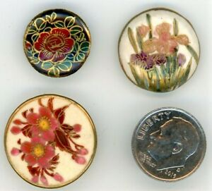 3 Vintage Japanese Satsuma Buttons