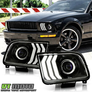 2005 2009 Ford Mustang Black LED Tube Projector Headlights Headlamps LeftRight $175.99