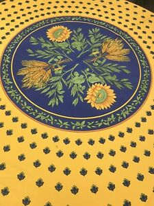 "NEW French Provence Blue amp;Yellow 70""Round Polyester Tablecloth Discounted $15.99"
