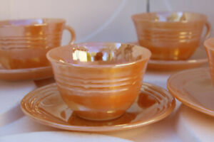 Vintage Fireking Peach Lustre 4 cups amp; 4 saucers NICE ANTIQUE SALE PERFECT