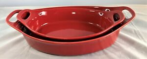 Rachael Ray 2 Piece Flared Oval Baker Set Cherry Red K48874