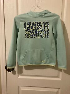 Girls Under Armour Hoodie Youth Medium Turquoise Seafoam $9.99