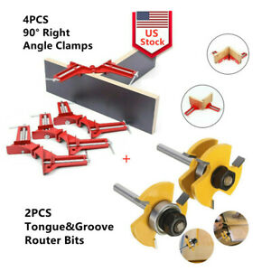 90° Metal Right Angle Clampamp;1 4quot; Shank Tongue and Groove Router Bit Wood DIY Set $23.99