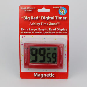 Ashley Big Red Digital Timer Ashley Time Zone Magnetic Timer Large Display RED
