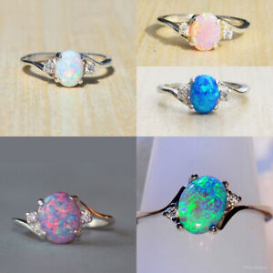 Exquisite Women 925 Silver Wedding Oval Cut Opal Rings Jewelry Size 6 10 C $2.46