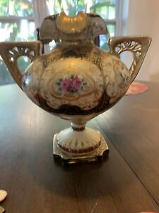 Nippon Moriage Pedestal Vase Urn Heavy Gold Exceptional