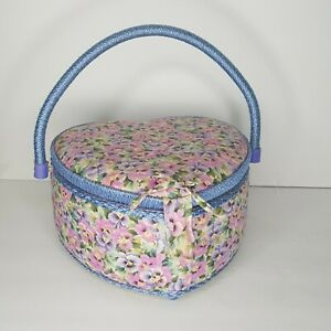 Vtg Fabric Covered Sewing Storage Box Basket Heart Shaped Floral Padded w Liner $29.00