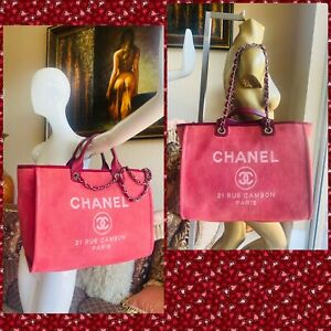 CHANEL Dark Pink Canvas Deauville Large Tote Bag $2500.00