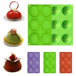 6 Holes Silicone Molds For Making Hot Chocolate Bomb Cake Jelly Dome Mousse USA