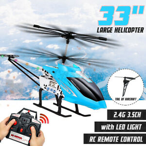 Metal 3.5CH 33#x27;#x27; Giant RC Helicopter Gyro Remote Control Outdoor Large RC Toys