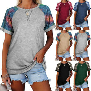Summer Women Crew Neck Short Sleeve T Shirt Casual Solid Blouse Loose Splice Top
