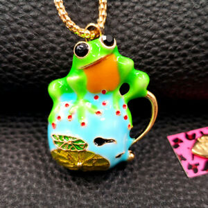 Betsey Johnson Colorful Enamel Frog Lotus Leaf Tadpole Chain Necklace Brooch Pin