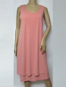 MarlaWynne Sleeveless Jersey Knit Overlay Dress Solid Coral $37.99