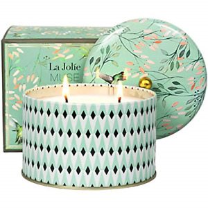 LA JOLIE MUSE Large Scented Candle 2 Wicks White Tea Aromatherapy Candle for Oz