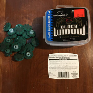 Softspikes Black Widow Large Plastic Thread 20 Golf Cleats Soft Spikes Used $6.45