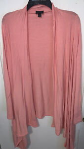 J. Jill Wearever Collection salmon coral knit cascade cardigan Size Large wrap $25.49