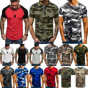 Mens Camouflage T Shirt Top Fitness Gym Summer Camo Slim Fit Muscle T Shirts US