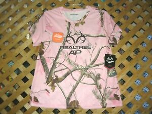 REALTREE AP Pink Camouflage Stretch Polyester Crew Neck Camo TEE Top Size XL NWT
