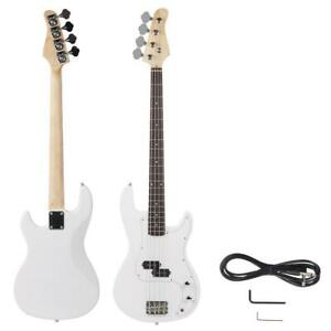 New White Beginner Band 4 String Electric Bass Guitar Musical Instruments
